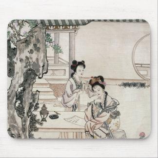 Señoras chinas en un jardín tapetes de ratón