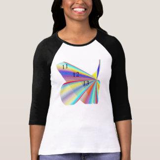 Señoras de 11 12 13 arco iris 3 4 raglán de la man camiseta