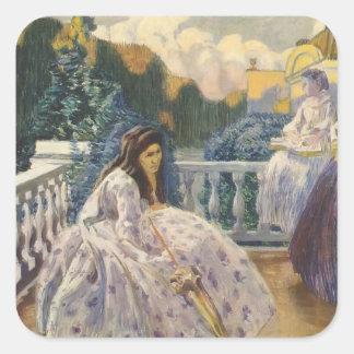 Señoras de Borisov-Musatov-Tres del vencedor en la Pegatina Cuadrada