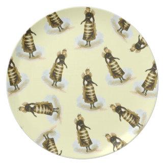 Señoras de la abeja del vintage platos de comidas