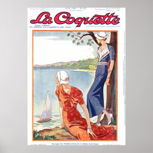 Señoras de la coqueta sobre el lago póster