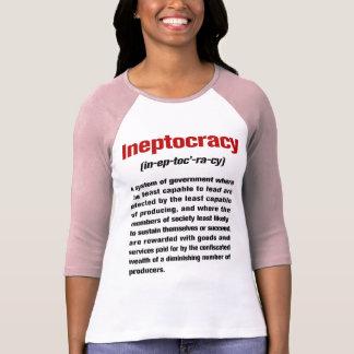 Señoras de la definición de Ineptocracy 3/4 raglán Playera