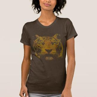 Señoras de la impresión del tigre (camisa oscura) remeras