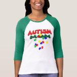 Señoras de la mamá del autismo 3/4 raglán de la ma camisetas