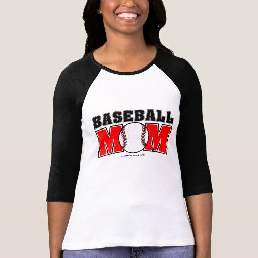 Señoras de la mamá del béisbol 3/4 raglán de la ma camiseta