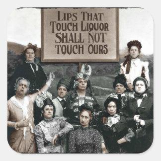 Señoras de la prohibición pegatina cuadrada
