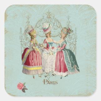 Señoras de París del francés de Marie Antonieta Pegatina Cuadrada