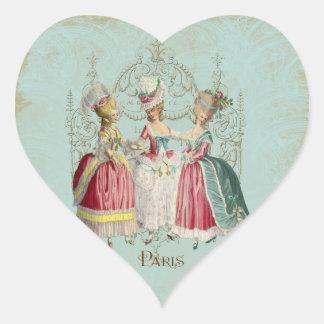 Señoras de París del francés de Marie Antonieta Pegatina En Forma De Corazón