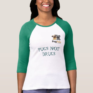 señoras de PugPals Inc 3 4 raglán de la manga c Camisetas