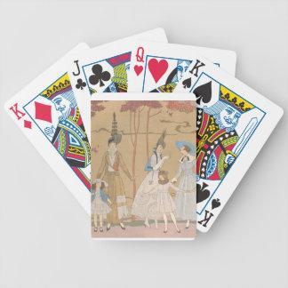 Señoras del art déco - jugando con los chicas en baraja de cartas bicycle