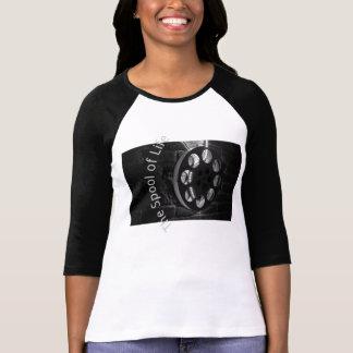Señoras del carrete de película 3/4 raglán de la camisetas