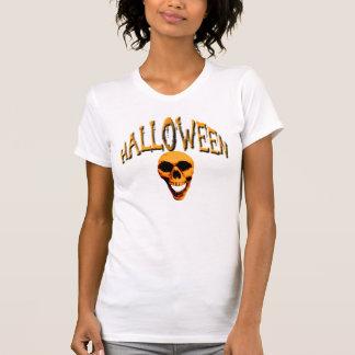 Señoras del cráneo de Halloween menudas Camiseta