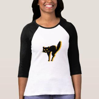 Señoras del gato de Scaredy 3 4 blanco cabido Camisetas