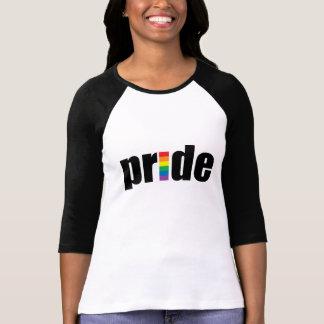 Señoras del orgullo gay 3 4 raglán de la manga ca camiseta