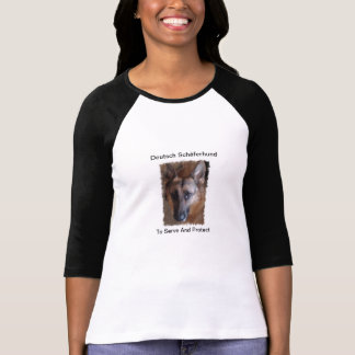 Señoras del pastor alemán 3 4 raglán de la manga camisetas
