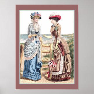 Señoras del Victorian en la impresión vieja de la  Póster