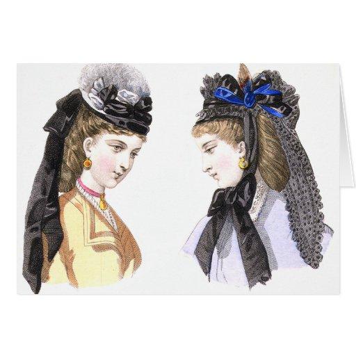 Señoras del Victorian en los gorras - tarjeta del