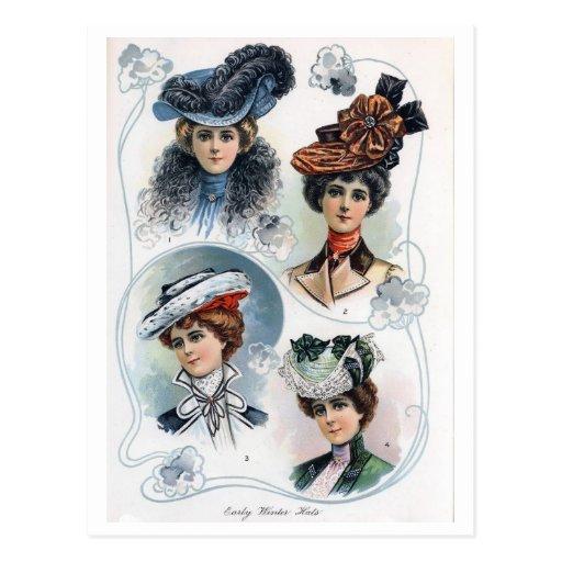 Señoras del vintage en postal de los gorras