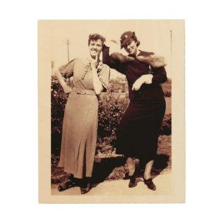 Señoras divertidas de la fotografía del vintage impresiones en madera