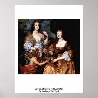 Señoras Elizabeth y Dorothy de Anthony Van Dyck Poster