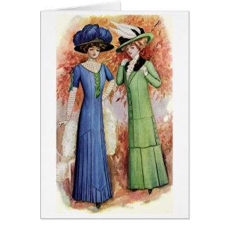 Señoras en azul y verde tarjeta de felicitación