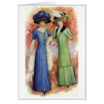 Señoras en azul y verde tarjetas