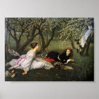 Señoras en los flores de Apple Póster