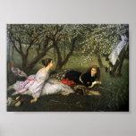 Señoras en los flores de Apple Posters