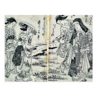 Señoras en país por Nishikawa, Sukenobu Ukiyoe Postal