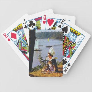 Señoras en traje bretón baraja de cartas