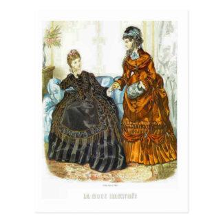 Señoras francesas de moda, 1875 postales
