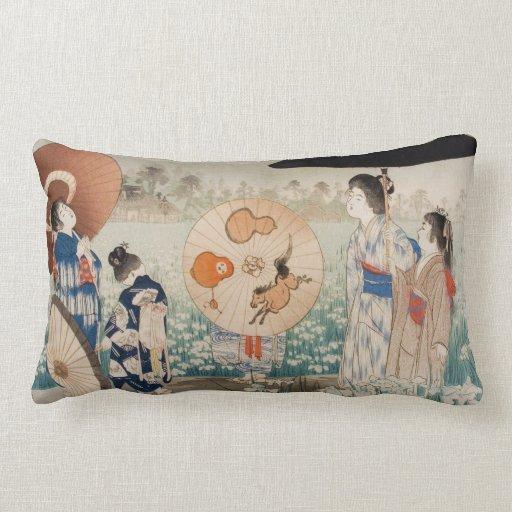 Señoras japonesas del ukiyo-e del vintage con arte almohada