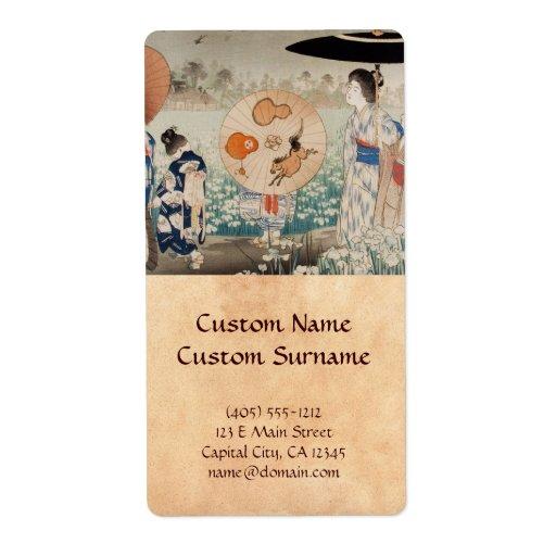 Señoras japonesas del ukiyo-e del vintage con arte etiqueta de envío