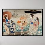 Señoras japonesas del ukiyo-e del vintage con arte poster