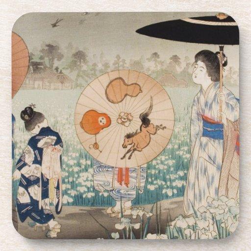 Señoras japonesas del ukiyo-e del vintage con arte posavasos de bebida