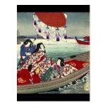 Señoras japonesas hermosas en el barco postal