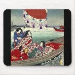 Señoras japonesas hermosas en el barco tapetes de raton