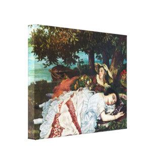 Señoras jovenes de Courbet en los bancos del Sena Impresion De Lienzo