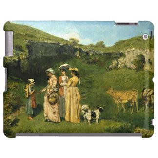 Señoras jovenes del pueblo de Gustave Courbet Funda Para iPad
