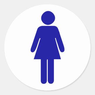 Señoras lavabo o muestra del cuarto de baño pegatina redonda