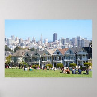 Señoras pintadas en Álamo San Francisco cuadrado Póster