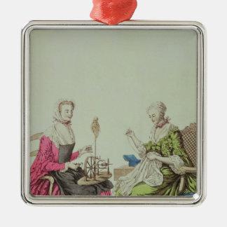 Señoras que hacen girar y que cosen, c.1765 adorno cuadrado plateado