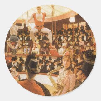 Señoras que se divierten (o amante del circo) por pegatina redonda