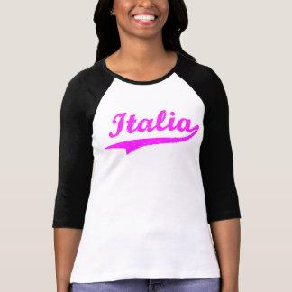 Señoras rosadas de Italia 3/4 raglán de la manga Camiseta