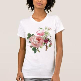 Señoras S subió camiseta del monograma Remeras