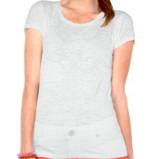Señoras T de la raya roja, blanca, y azul del crán Camisetas