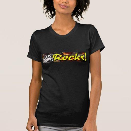 Señoras T negro de las rocas de país de Tejas Camisetas