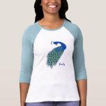Señoras verdes personalizadas del pavo real 3/4 camiseta