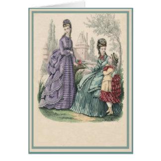 Señoras y niño de la moda del vintage tarjeta de felicitación