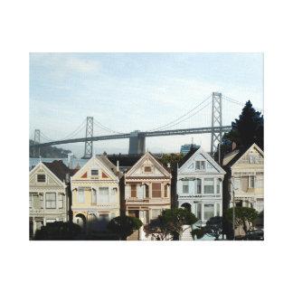 Señoras y puente pintados de San Francisco Bay Impresiones En Lona Estiradas